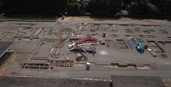 Aerial view of concrete pouring of foundation