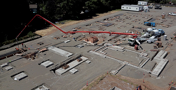 aerial view of concrete pour for foundation footings