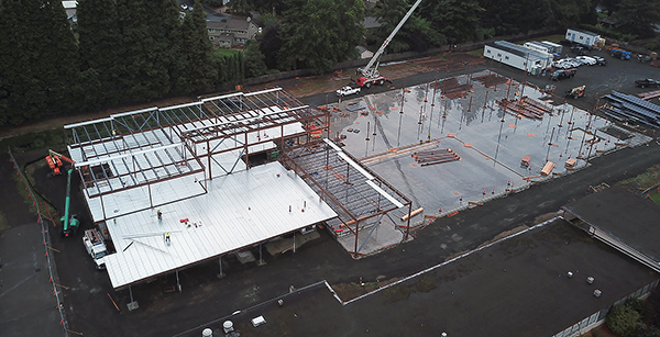 aerial view of building framing