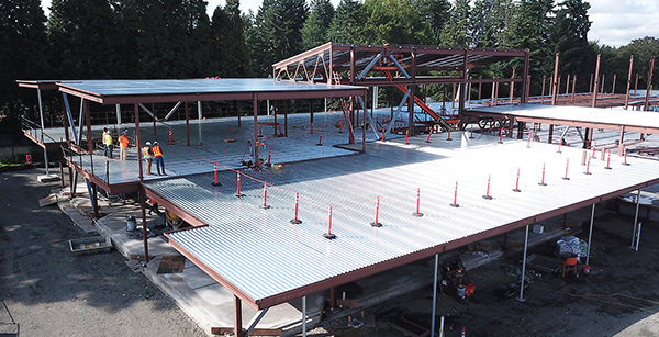 aerial view of second floor framing work