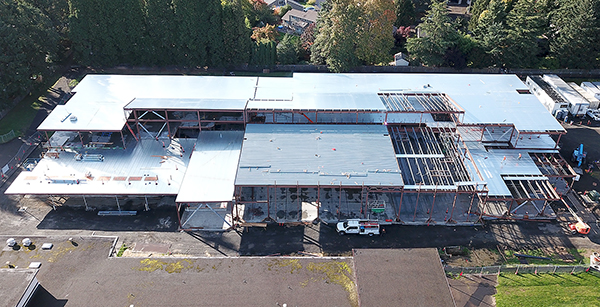 aerial view of Brookwood building construction