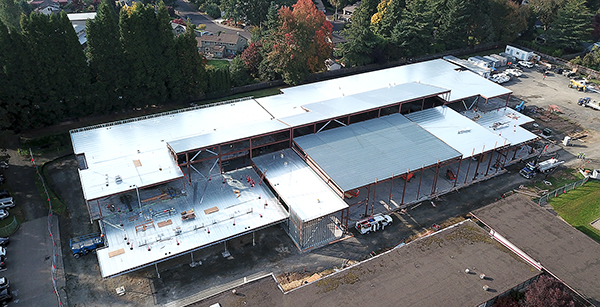 aerial view of Brookwood construction