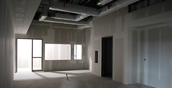 nearly-finished conference room