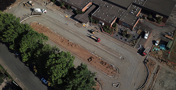 Aerial view of dropoff construction