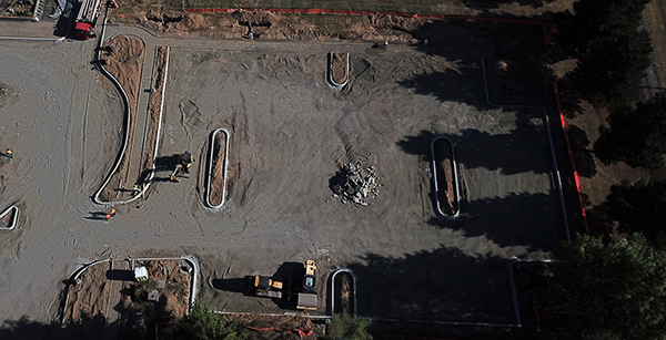 Aerial view of parking lot construction