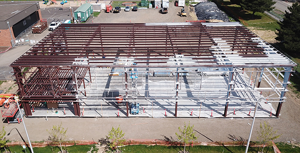 aerial view of gym construction progress