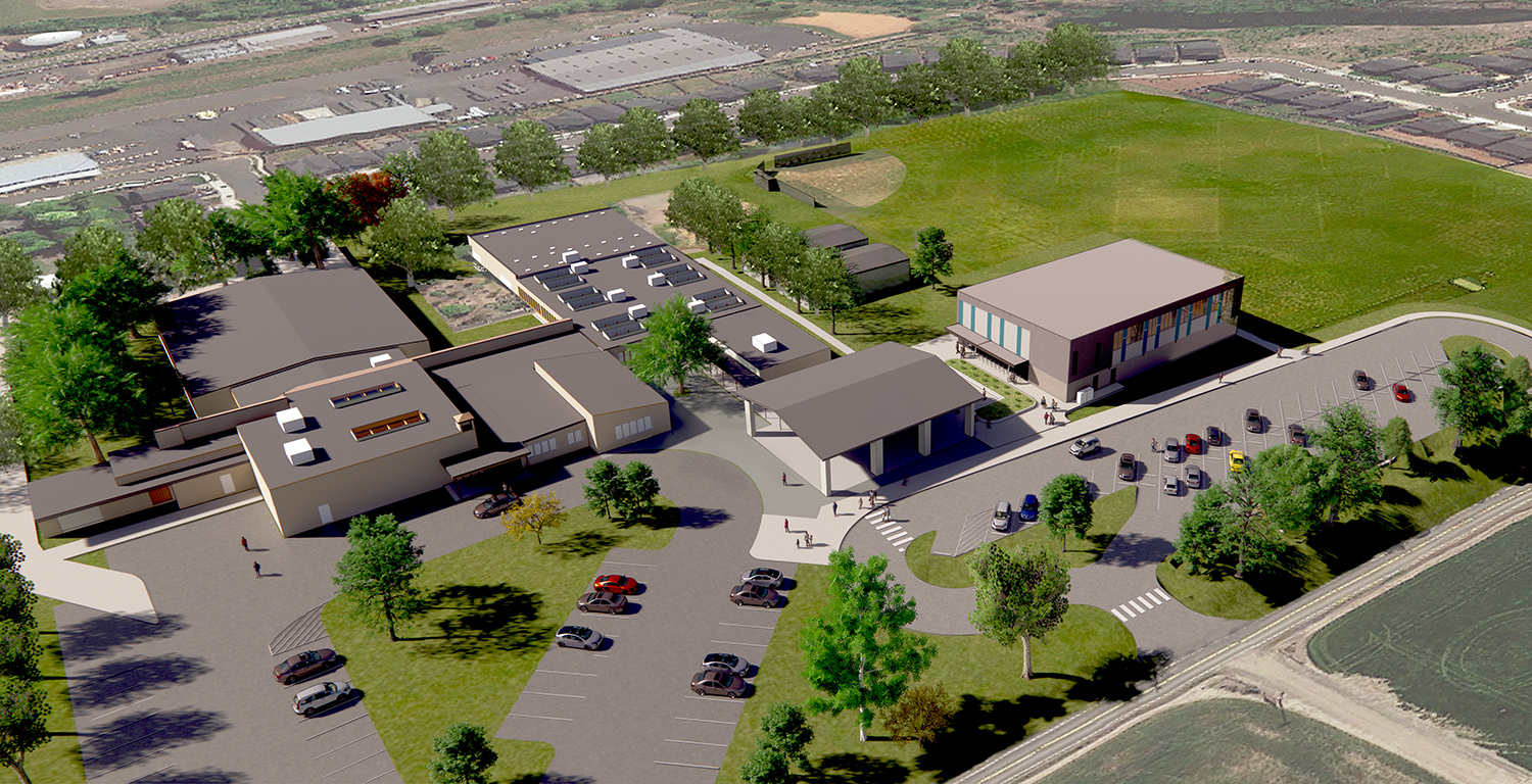 aerial rendering of NP campus with new gym and dropoff