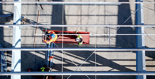 aerial view of ceiling framing work