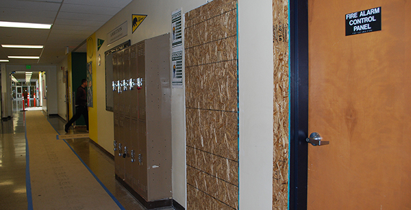 Framing for exterior classroom door
