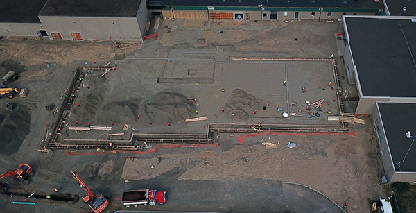 Aerial view of media center addition construction area
