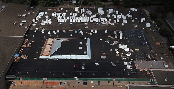 Aerial view of roofing work