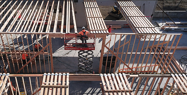 wood framing in media center construction site