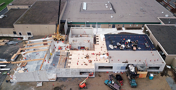 aerial view of Evergreen's media center construction
