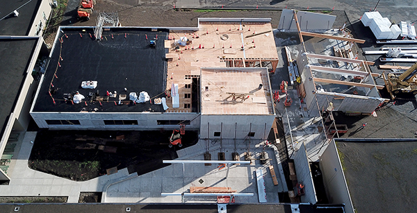 aerial view of media center construction