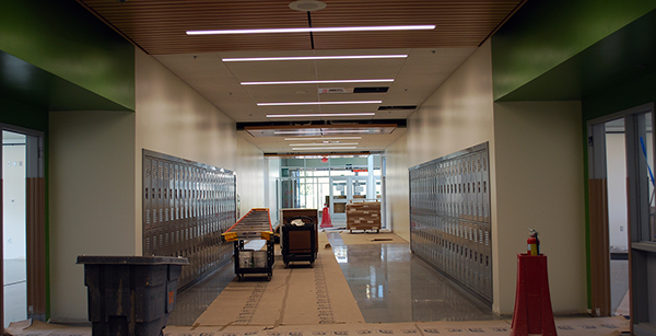 classroom corridor in the building addition