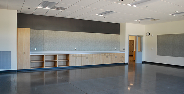 classroom cabinetry and tackboards