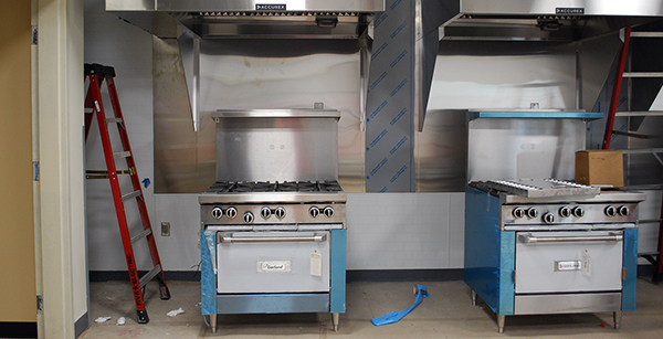 new ranges and hoods in culinary classroom