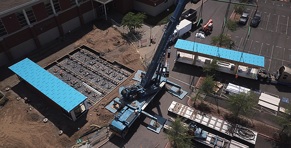 Aerial view of modular building placement