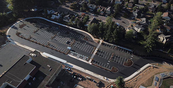 aerial view of south parking lot