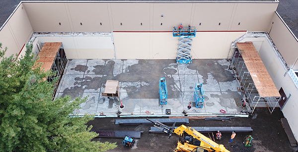 aerial view of weight room construction