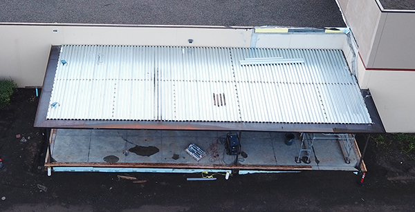 aerial view of team room roof decking