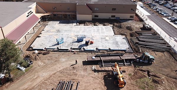 aerial view of media center construction site