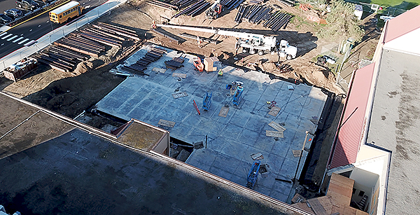 aerial view of media center addition construction