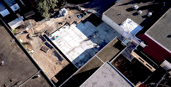 aerial view of cafeteria addition construction