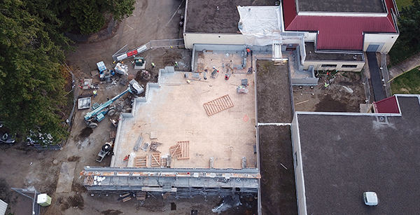 aerial view of construction of cafeteria addition