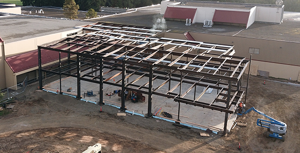 aerial view of construction of media center addition