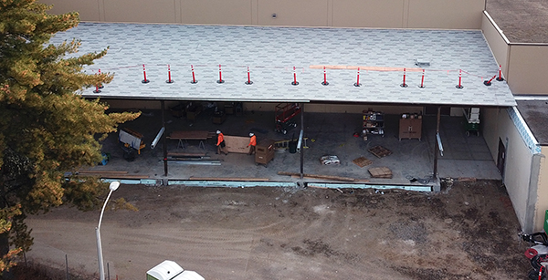aerial view of construction of weight room addition