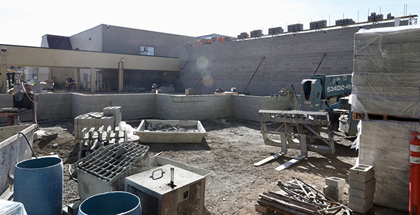concrete masonry outlines the cafeteria wall construction