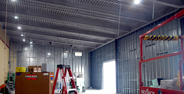 sheathing encloses weight room walls