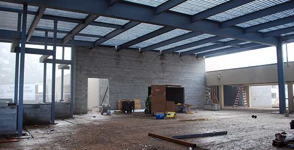 cafeteria addition under construction (view to east)
