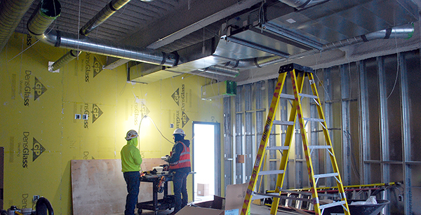 ductwork installation in team room