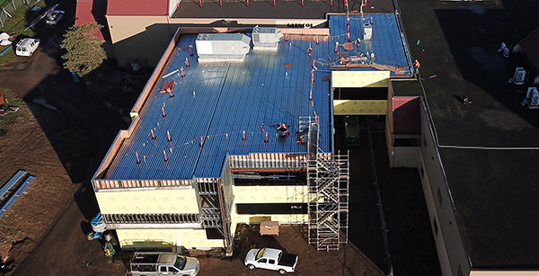 aerial view of rooftop HVAC units on media center construction