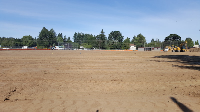 Photo of start of construction of turf field