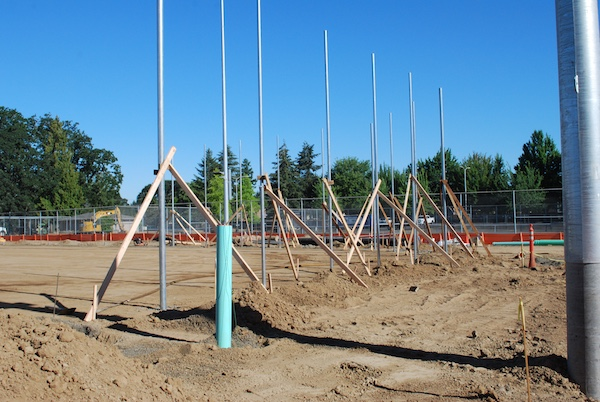 Backstop posts at Glencoe softball field