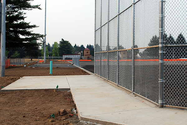 Softball field behind backstop