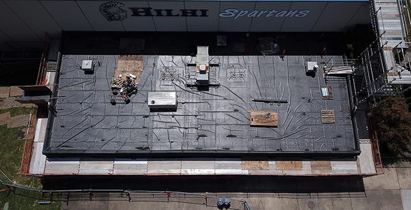 Aerial view of gym roof.