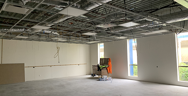 business education building classroom has been sheetrocked