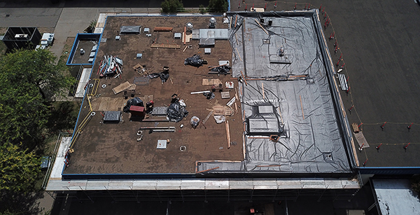 roofing work over cafeteria/commons building