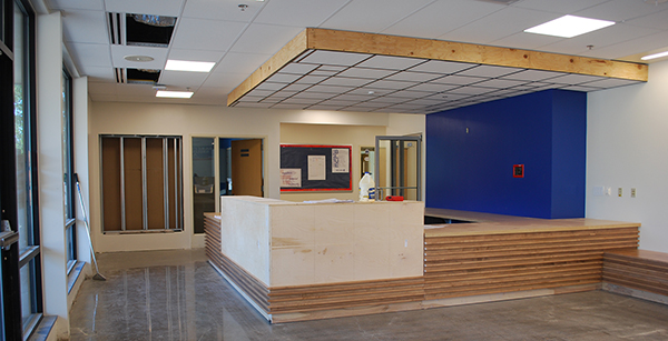 casework installed in administration offices