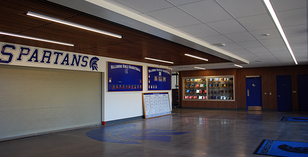 gym entry vestibule with trophy case