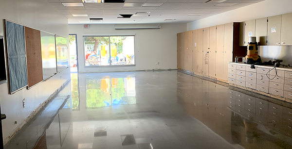 the concrete floor shines in a creative arts classroom