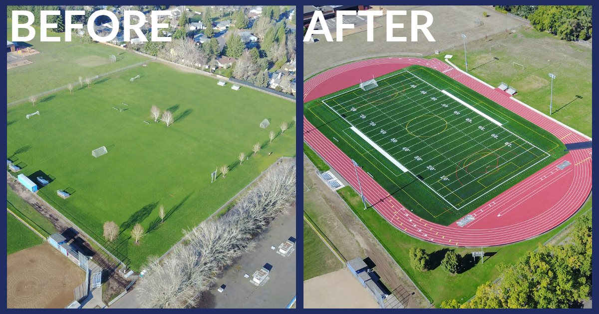 Before and after photos of Hilhi turf field