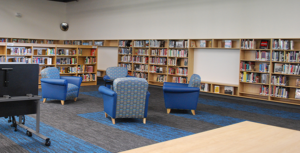 armchairs in media center
