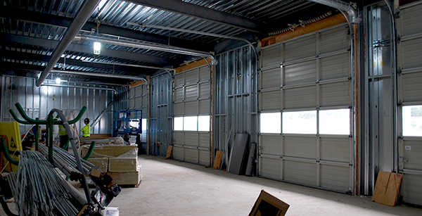 interior view of the shop doors installed in the expansion