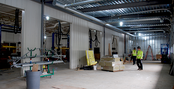 view toward the existing auto tech area