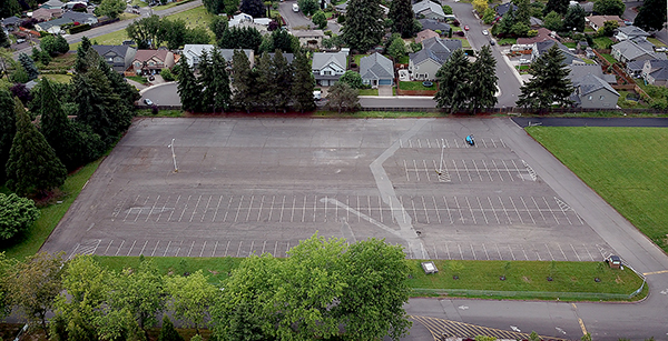 aerial view of student parking lot